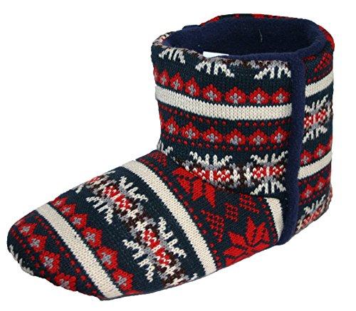 Men's Dunlop Navy Fairisle Pattern Boot Slippers (Medium UK 8-9)