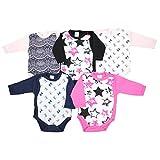 TupTam Unisex Baby Langarm Wickelbody Baumwolle 5er Set , Farbe: Mädchen 2, Größe: 56