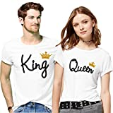 Hangout Hub 100% Cotton Couple Tshirts King Queen Printed White Color Casual Half Sleeve Round Neck Stylish and Comfortable Men-XL,Women-L