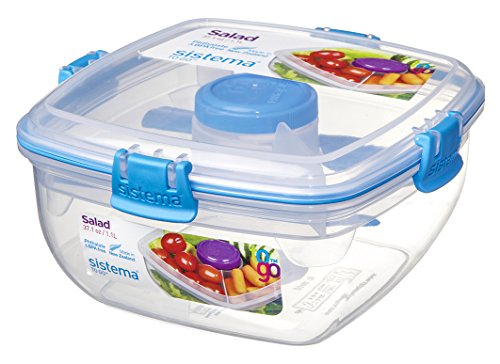 Portion Utensil Set (Sistema to go Salat Container mit Dressing und Besteck, transparent/blau, 37.1 oz)