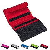 Homöopathische Taschenapotheke für Globuli, leer, Globuli-Tasche für 24 Globuli-Röhrchen (Glas), handgemacht aus echtem Filz (rot)