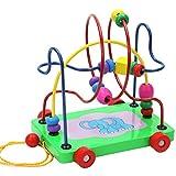 Juleya 1 Pc coloridos bebé de madera círculo perla de alambre laberinto de montaña rusa rompecabezas de juguete educativo contando marcos regalo de cumpleaños de Navidad para niños pequeños