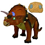 #10: IndusBay Infrared Remote Control Dinosaur Triceratops with Walking, Sound Action, Head Swing movement - Red