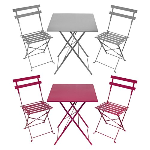 Charles Bentley 3 Piece Metal Garden Patio Furniture Bistro ...