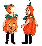 Taglia S - 2-4 anni - Costume - Travestimento - Carnevale - Halloween - Zucca - Vegetale - Colore Arancione - Bambino