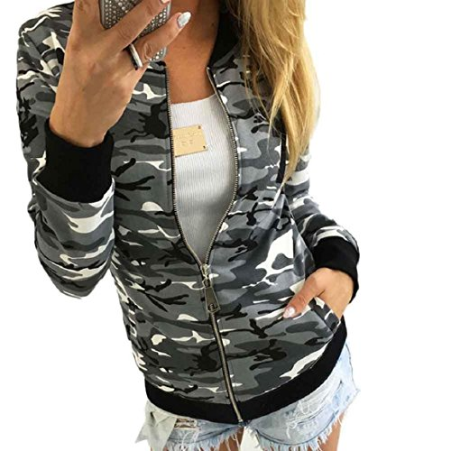 OverDose Damen Mode Camouflage Jacken Mantel Herbst Winter Straße Jacke Women Casual Jackets