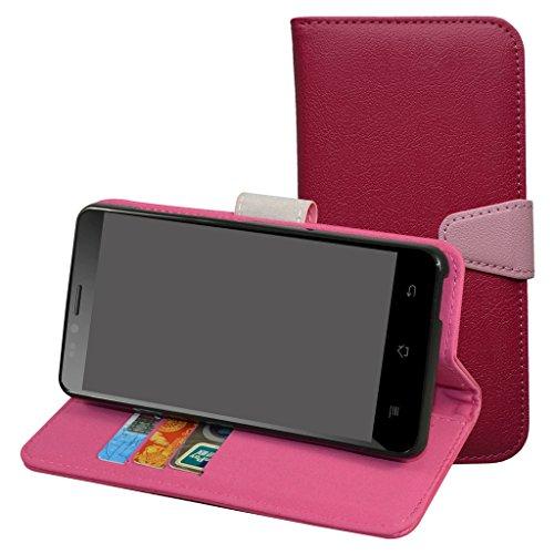 Archos 50E NEON Hülle,Archos 50 Platinum 4G Hülle,Mama Mouth Brieftasche Schutzhülle Case Hülle mit Kartenfächer und Standfunktion für Archos 50 Platinum 4G / 50E NEON Smartphone,Pink