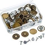 40 Set Metallknöpfe Jeansknöpfe Metall Knöpfe Ersatz Kit mit Aufbewahrungskisten, 2 Stile, Bronze