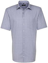 SEIDENSTICKER Herren Hemd Comfort 1/2-Arm Bügelfrei Karo City-Hemd Kent-Kragen Ohne Manschette
