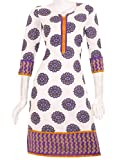 eSTYLe White 'N Purple Printed Kurta Wit...