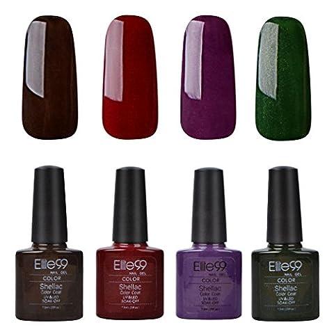 Vernis Semi permanent Elite99 Vernis à Ongles Gel UV LED Soakoff 4pcs Kit Manicure Pour Ongle