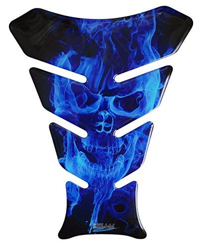Flamme Pak (Tankpad 3D - 500067 - Ghost Blue Totenkopf-Motiv / Flammen Blau - universell für Yamaha, Honda, Ducati, Suzuki, Kawasaki, KTM, BMW, Triumph und Aprilia Tanks)
