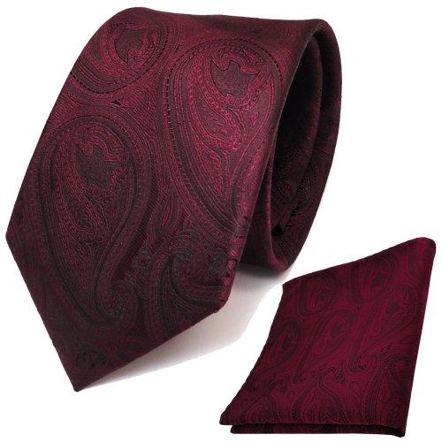 Designer TigerTie Krawatte + Einstecktuch in rot weinrot schwarz paisley Muster