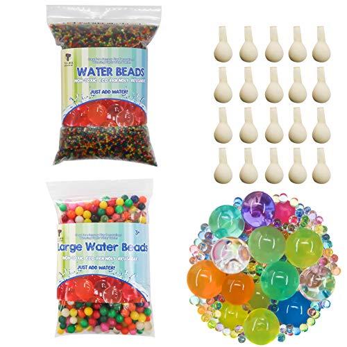 TOAOB 50000pcs Mini und 200pcs XXL Aqualinos Perlen Wasserperlen Gelperlen Wachsende Kristallboden mit 20pcs Wasserballons für Sensorische und als Deko für Blumenvase