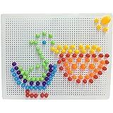 Rompecabezas Tablero con Hongos de Clavijas Caja Juguetes Bricolaje Conjunto para Niños de 3 Años+(184PCS)