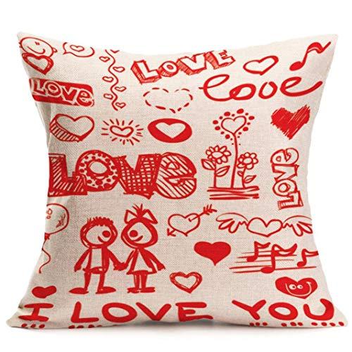 gthytjhv Cushion Cover Pillow Case, Valentine's Day Pillow Case Sofa Home Decor (45cm45cm, F) (Nautische Valentine Karten)