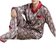 GRMO Men Print Sleepwear Plus Size Long Sleeve Summer 2 Piece Pajama