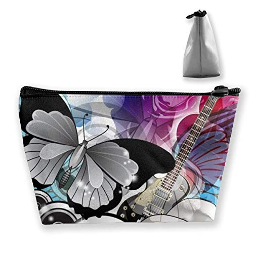 Makeup Bag Cosmetic Butterfly Animal Insect Skull Portable Cosmetic Bag Mobile Trapezoidal Storage Bag Travel Bags with Zipper
