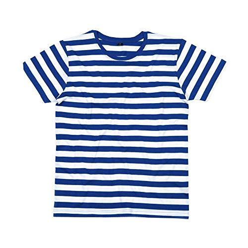 Mantis - Mens Retro Streifen T-Shirt (L),Classic Navy/White (Blau Und Weiß Gestreiften Shirt Kostüm)