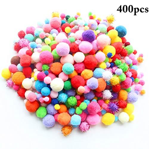 Joyibay 400PCS DIY Handwerk Ball Pom Poms Kreative Mehrzweck Glitter Pom Pom Ball Spielen Spielzeug (Multicolor Glitter Handwerk)