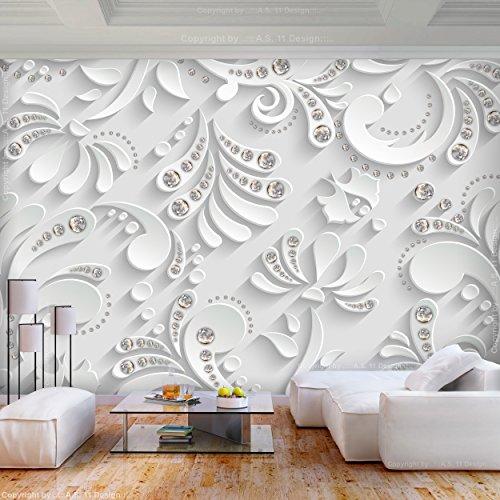 decomonkey | Fototapete 3d Effect Weiß 400x280 cm XL | Tapete | Wandbild | Bild | Fototapeten | Tapeten | Wandtapete | Wanddeko | Muster Abstrakt Kristall Modern | FOC0039a84XL
