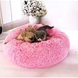 Blivener Deluxe Pet Bed for Cats and Dogs Plush Donut Pet Bed Warm Cuddler Kennel Soft Puppy Sofa Cat Cushion Bed Sleeping Bag Pink 50cm in diameter