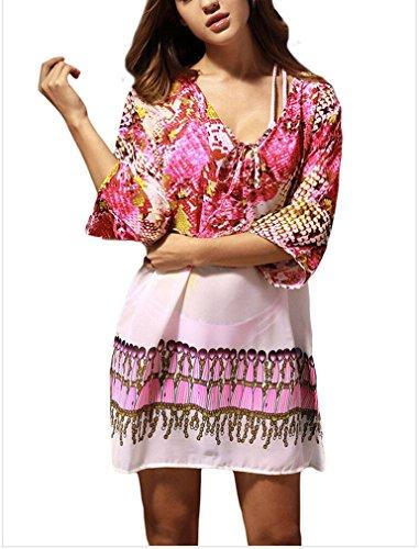 PassMe Copricostume Mare Donna Chiffon Stampato Floreale Camicetta Kimono Retro Costume da Bagno Vestito per Bikini Spiaggia Beachwear Tops Rosa