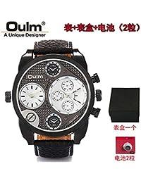 43be86f8ad29 Hermosa Watches Oulm Hombres de Doble Zona horaria Gran Reloj de Cuero de  Cuarzo Dial