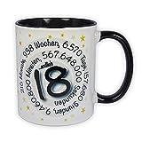 Geburtstagstasse - Endlich 18 - mit Zeitspirale - lustiger Kaffee-Becher, ein schönes Geburtstagsgeschenk zum 18. Geburtstag, originelle Geschenke für Frauen und Männer