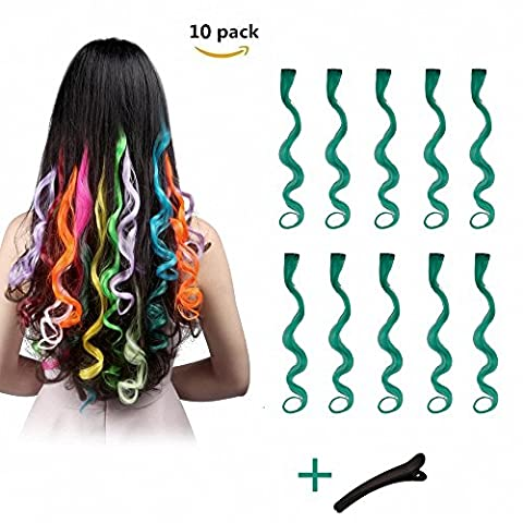 FESHFEN 10 Pcs Vintage Green Curly Wave Clip on in Hair Extensions Hairpieces 18 Inches Long Remy Hair Colored Party Highlights Hair Accessories DIY Hair Decoration Cosplay with Gift Hairpin