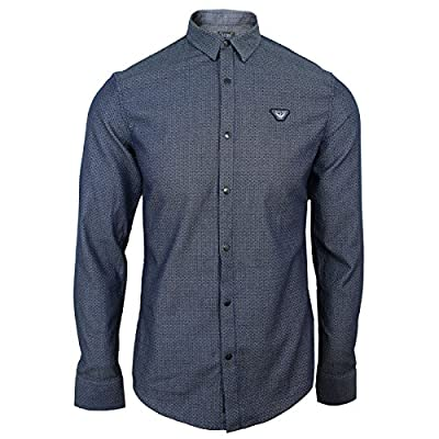 Armani Jeans Shirt Mens Fantasia Blue Long Sleeve Top