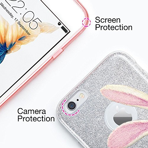 "Coque iPhone 7plus, TPU+PC Protection case pour iphone 7 Étincelant brillamment pour iPhone 6/6s 4.7' y 6plus /6splus 5.5""Qissy® hello rabbit"