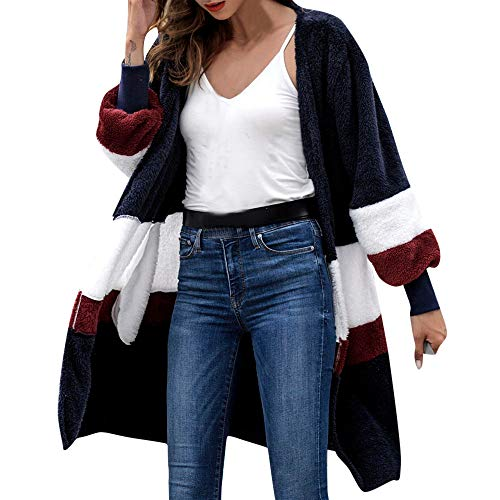 Geili Damen Strickmantel Lang Strickjacke Wolle Mantel Lose Plüsch Cardigan Frauen Modern Patchwork Herbst Wintermantel Causal Parkajacke Outwear Coat