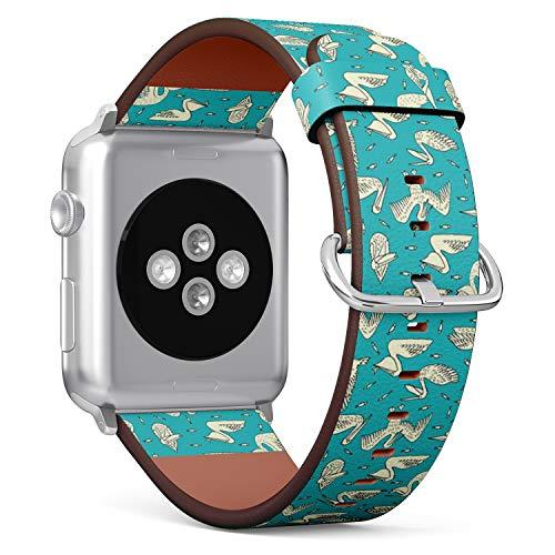 Art-Strap Kompatibel mit für SMALL Apple Watch 38mm & 40mm - Uhrenarmband Ersatzarmbänder Lederarmband mit Edelstahl-Verschluss und Adapter (Pelikan-Beschaffenheits-Design) Pelikan-adapter