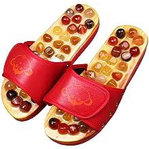 Saludable Antiskid Masaje Ágata Decoración Zapatillas de madera Zapatos Tacones planos -Red