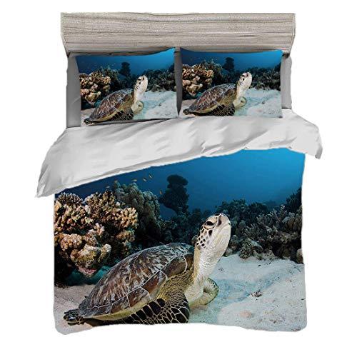 Bettwäscheset (220 x 240cm) mit 2 Kissenbezügen Schildkröte Digitaldruck Bettwäsche Unterwasser Meerestier am Korallenriff im Roten Meer Ägypten Amphibien,Creme Tan Dunkelgrün, Pflegeleicht antiallerg -