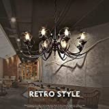 WW Chandelier Black Industrial Retro European Style Iron Chandelier Creative Candlestick Classical Living Room Bedroom Restaurant Cafe Bathroom Candle Pendant Chandeliers,8 heads