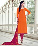Ankit Fashions Casual Wear Orange Cotton Embroidered Unstitch Dress