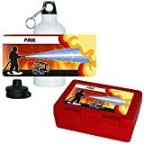 Eurofoto Brotdose + Trinkflasche Set mit Namen Paul und Feuerwehr-Motiv für Jungs | Aluminium-Trinkflasche | Lunchbox | Vesper-Box
