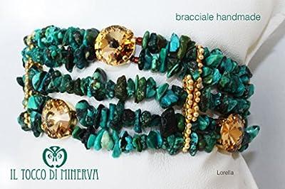 Bracelet vert et or pierres naturelles et swarovski Lorella fait à la main Made in Italy