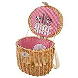 Mendler Picknickkorb-Set für 2 Personen, Picknicktasche Weiden-Korb, Porzellan Glas Edelstahl, rot-weiß