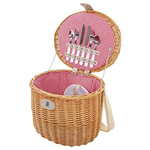 Picknickkorb-Set für 2 Personen, Picknicktasche Weiden-Korb, Porzellan Glas Edelstahl, rot-weiß