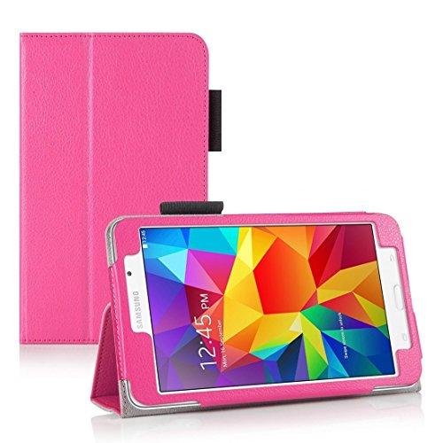 Invero® Premium Hülle Ledertasche umfasst Ständer Feature, Displayschutzfolie und Eingabestift Kugelschreiber für Samsung Galaxy Tab 4 7,0 Zoll SM T230 T231 (Rosa / Pink) (Pink Screen Protector 5s)