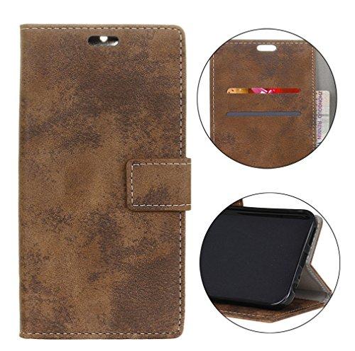 Sunrive Hülle Für bq Aquaris X2/X2 PRO, Magnetisch Schaltfläche Ledertasche Schutzhülle Case Handyhülle Schalen Handy Tasche Lederhülle(Retro Dunkelbraun)+Gratis Universal Eingabestift