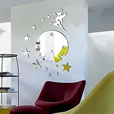 Walplus Mirror Wall Art Flying Fairy Tinker Bell with Stars Round Wall Stickers Removable Self-Adhesive Mural Decals Vinyl Home Decoration DIY Living Bedroom Décor Kids Room, Silver produced by Walplus - quick delivery from UK.