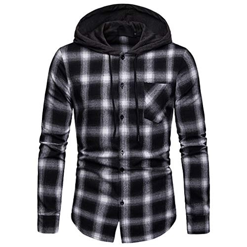 UJUNAOR Frühling Mode Mann Hoodie Langarmhemd Plaid Hemd Lässig T-Shirt(Grau,CN S)