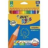 BIC Kids ECOlutions Evolution Buntstifte Set für Kinder ab 5 Jahren - Farbstifte ohne Holz, mit bruchsicherer Mine - sicher Schreiben - 18 Stifte im Kartonetui