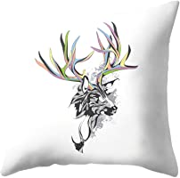 Deer Antlers Print Peachskin Throw Pillow Case Waist Cushion Cover Home Decor