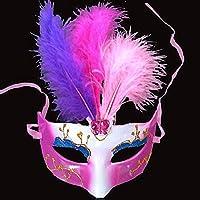 Yukun Máscara Máscara de Media Cara Máscara Femenina Luminosa Máscara de Pluma Máscara Infantil (5 Piezas), Rosa roja