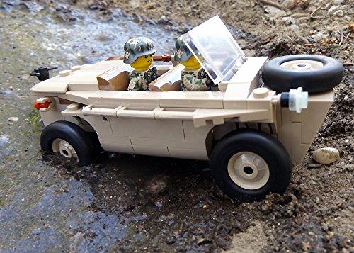 Modbrix 2188 - ☠ Bausteine VW Typ 166 Schwimmwagen XX Divison inkl. Custom Elite Wehrmacht Soldaten aus Lego© Teilen ☠ thumbnail